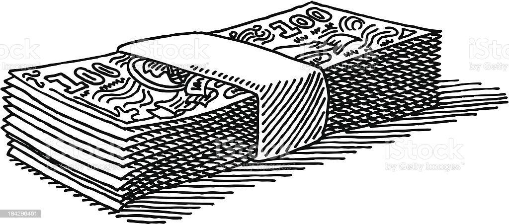 Line Art Money : Billete de banco dibujo dinero arte vectorial