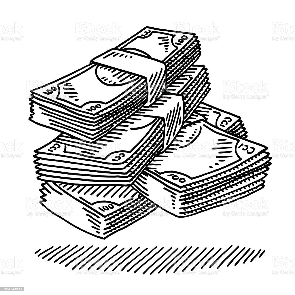 Money Banknotes Drawing vector art illustration