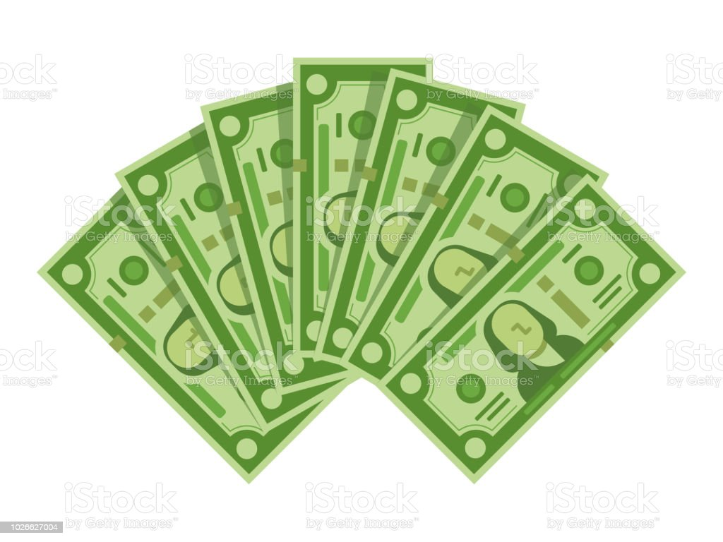 Money banknotes fan. Pile of dollars cash, green dollar bills heap or monetary currency isolated vector illustration money banknotes fan pile of dollars cash green dollar bills heap or monetary currency isolated vector illustration - immagini vettoriali stock e altre immagini di abbondanza royalty-free