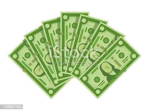 Money banknotes fan. Pile of dollars cash, green dollar bills heap capital, geld or paper monetary currency wage, bill banknote piles for investment or payment isolated vector illustration