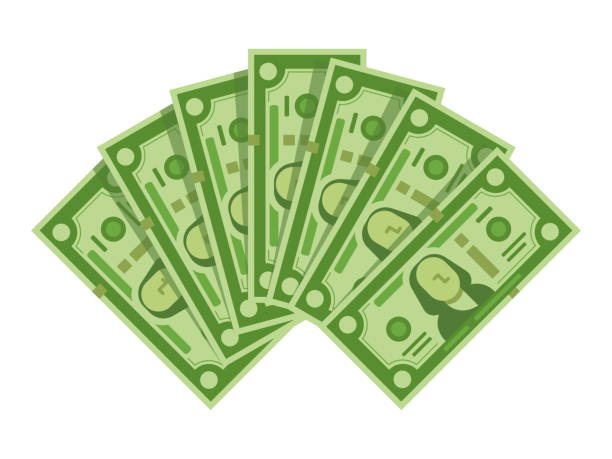 money banknotes fan. pile of dollars cash, green dollar bills heap or monetary currency isolated vector illustration - banknot stock illustrations