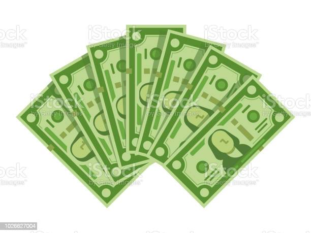 Money Banknotes Fan Pile Of Dollars Cash Green Dollar Bills Heap Or Monetary Currency Isolated Vector Illustration Stock Illustration - Download Image Now