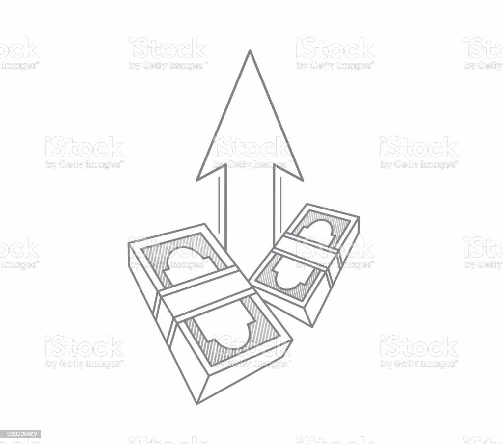 Money Bills And Up Arrow Illustrator Design Graphic Stock Vector Art