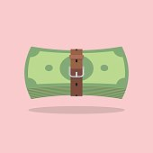 Money bills with a tight belt