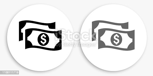 Money Black and White Round Icon. This 100% royalty free vector illustration is featuring a round button with a drop shadow and the main icon is depicted in black and in grey for a roll-over effect.