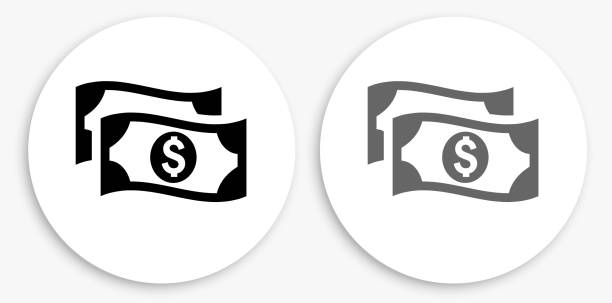 Money Black and White Round Icon vector art illustration
