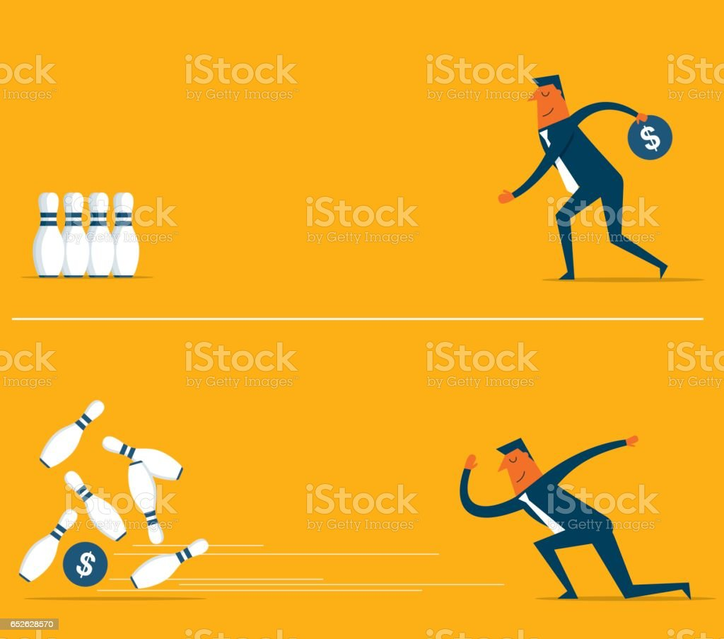 Money bowling with businessman vector art illustration