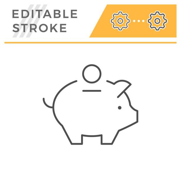 Money box editable stroke line icon Money box line icon isolated on white. Editable stroke. Vector illustration piggy bank stock illustrations
