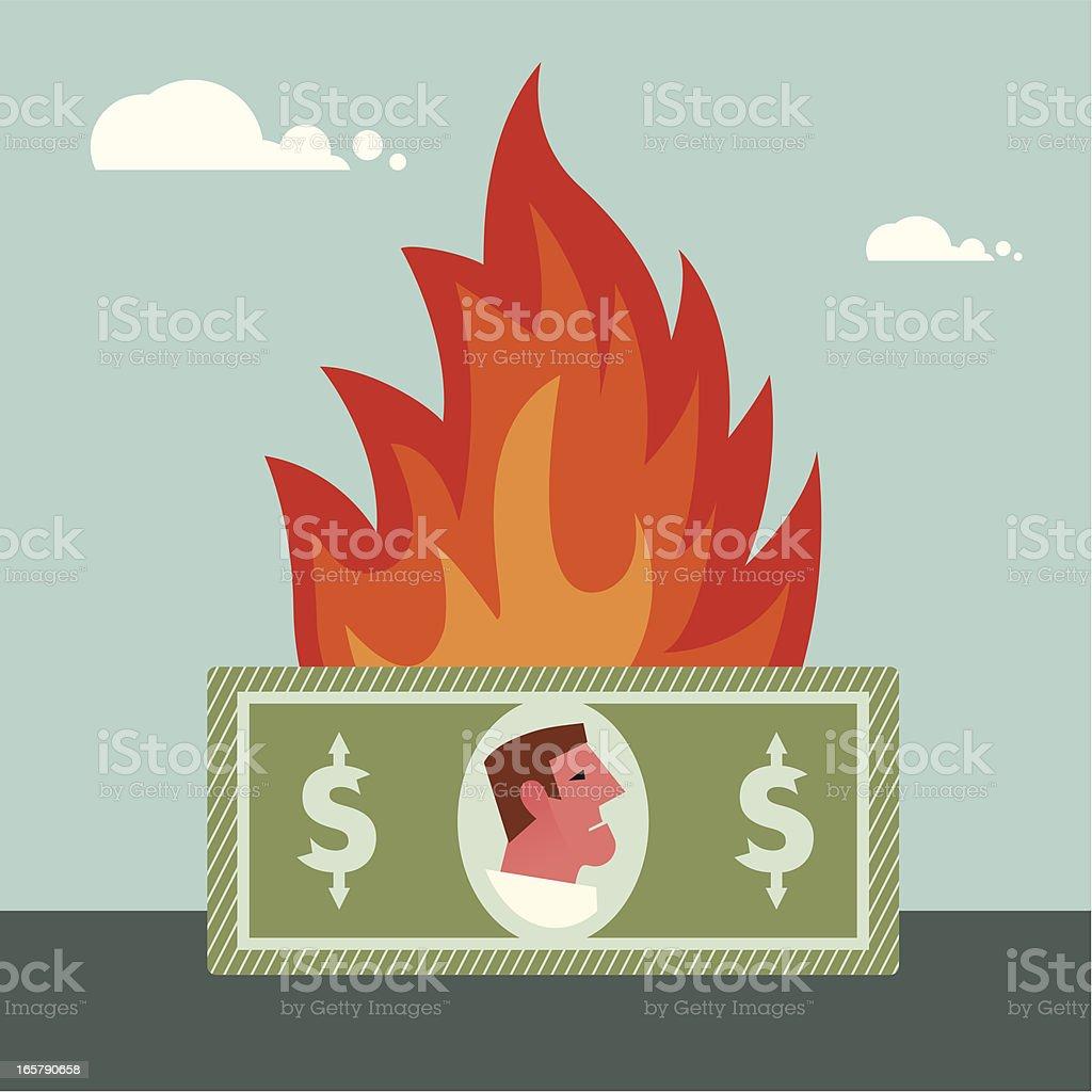 Money burning vector art illustration