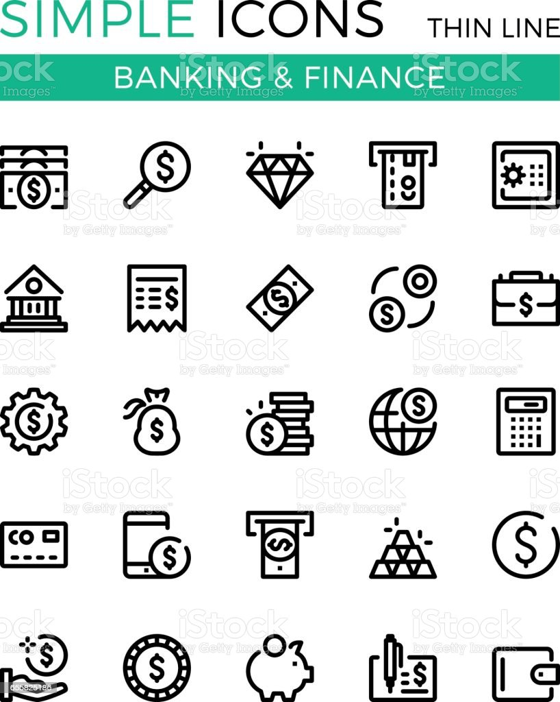 Argent, business, opérations bancaires, finances vecteur ligne mince icônes ensemble. 32 x 32 px. Concepts de design graphique ligne moderne pour sites Web, conception de sites web, etc.. Pixel parfait vecteur contour icônes définies - Illustration vectorielle