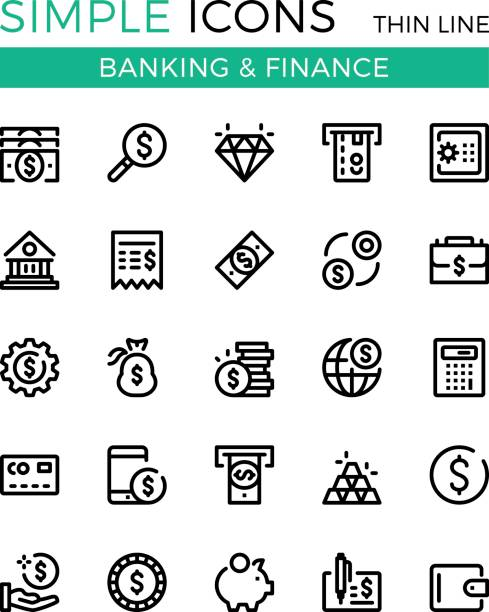 Money, business, banking, finance vector thin line icons set. 32x32 px. Modern line graphic design concepts for websites, web design, etc. Pixel perfect vector outline icons set vector art illustration