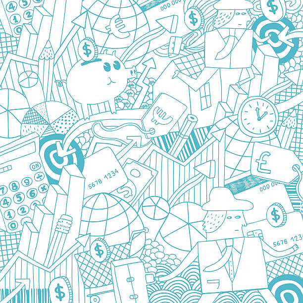 Money, business, finance and real estate background pattern Vector file of hand drawn doodle of economy theme. All elements on seperate layers for easy editing budget designs stock illustrations