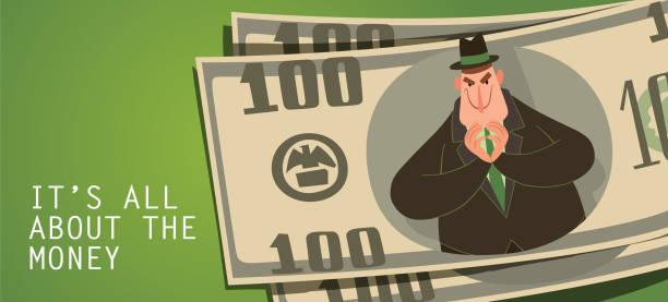 money card, funny fat capitalist thinking something ominous - evil money stock illustrations, clip art, cartoons, & icons