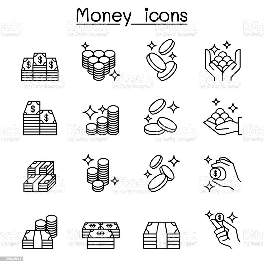 Jeu d'argent, argent, tirelire Remarque icônes dans le style de la ligne mince - Illustration vectorielle