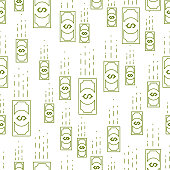 Money cash falling seamless background, dollar currency money signs, backdrop for financial business website or economical theme ads and information, vector wallpaper or web site background.