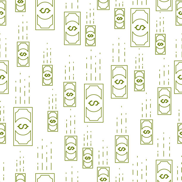 money cash falling seamless background, dollar currency money signs, backdrop for financial business website or economical theme ads and information, vector wallpaper or web site background. - валюта stock illustrations