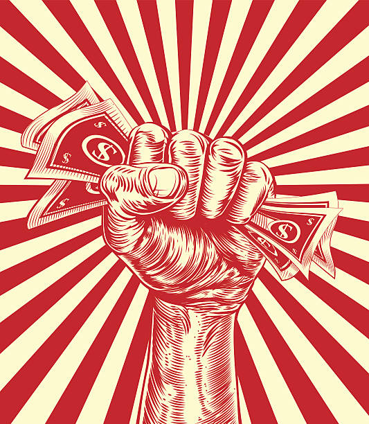 Money Cash Fist Hand A hand in a fist holding money cash in a vintage propaganda poster wood cut style minimum wage stock illustrations