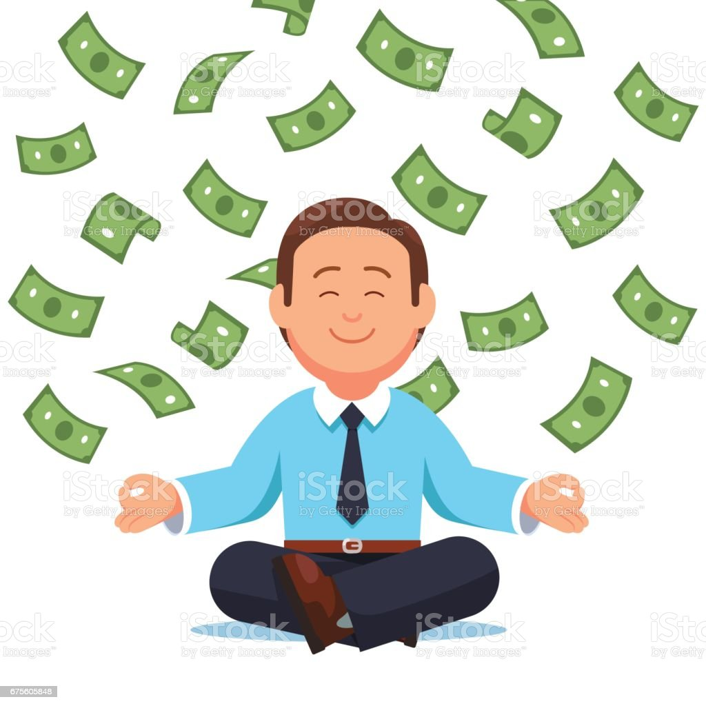 Money cash flying down on business man sitting - Illustration vectorielle