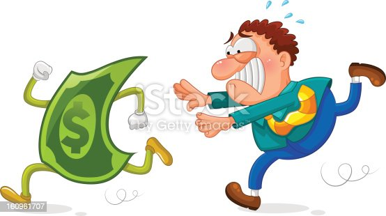 worker running after a sneaky dollar