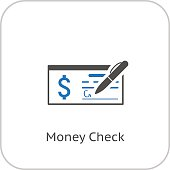 Money Check Business Icon. Flat Design.