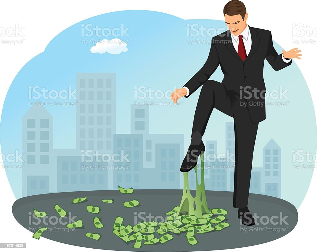 Money chewing gum vector art illustration