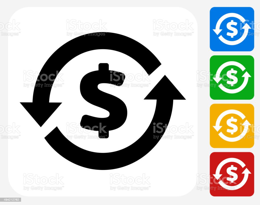 Money Circulation Icon Flat Graphic Design vector art illustration