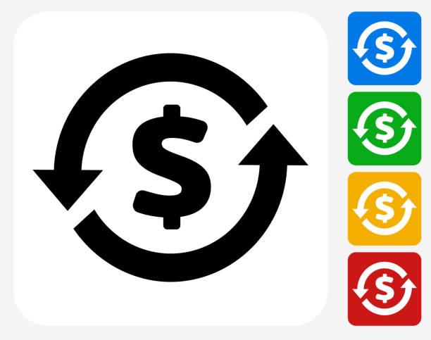 Money Circulation Icon Flat Graphic Design vector art illustration