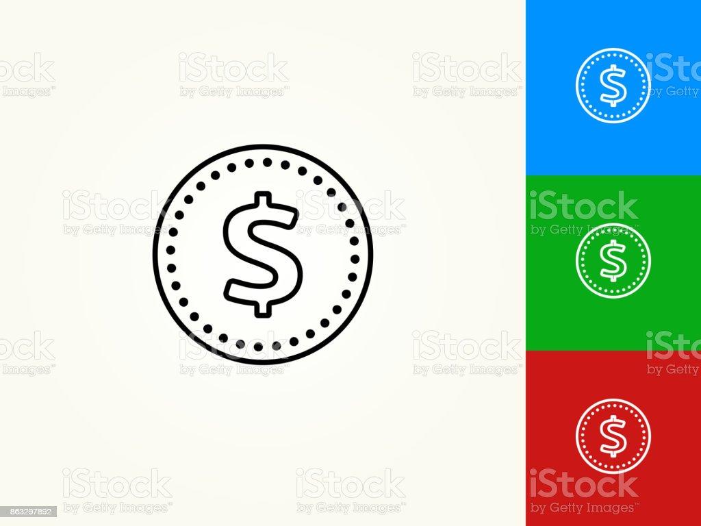 Money Coin Black Stroke Linear Icon vector art illustration