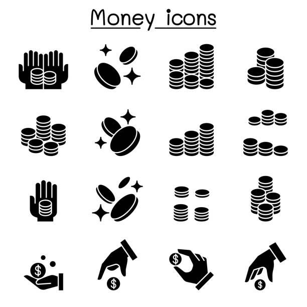 돈 및 동전 아이콘 세트 - 토큰 stock illustrations