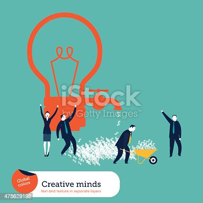845301446 istock photo Money coming out of a bulb faucet and businessmen celebrating 475629192