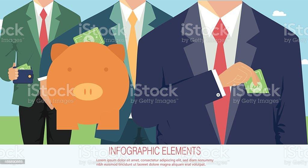 Money concept, business corruption vector art illustration