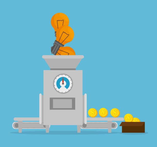 ilustrações, clipart, desenhos animados e ícones de projeto de conceito de dinheiro - mecânico