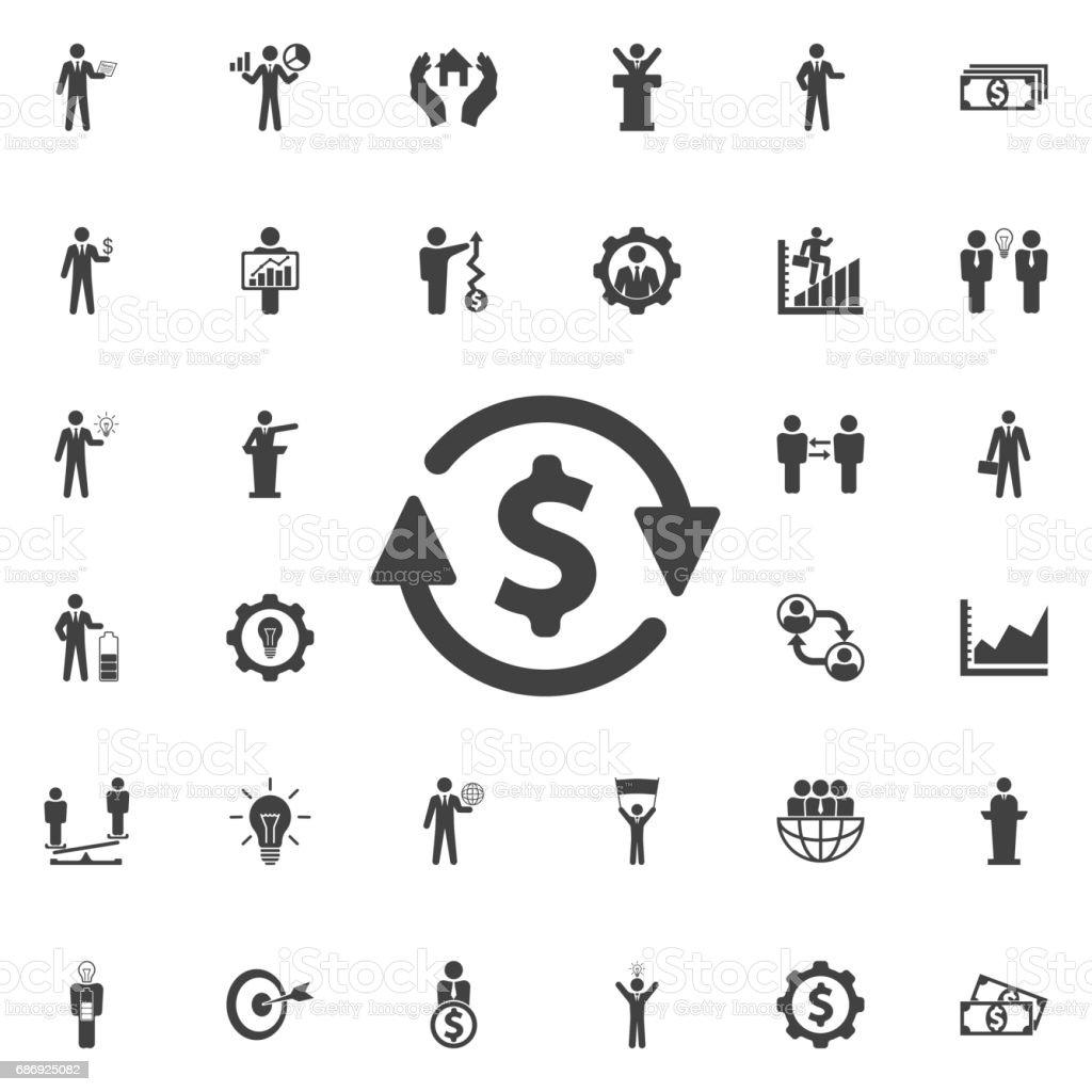 Ícone de converter dinheiro. - ilustração de arte em vetor