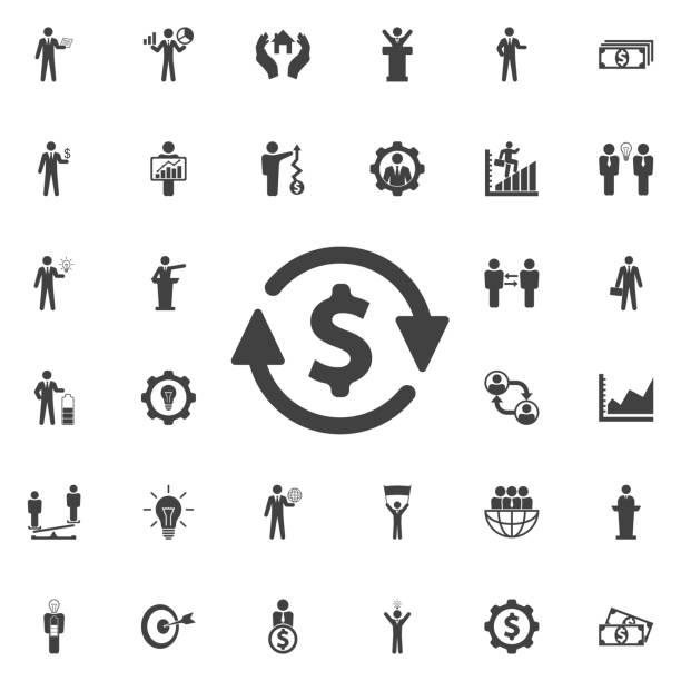 geld umwandeln-symbol. - geldstrafe stock-grafiken, -clipart, -cartoons und -symbole