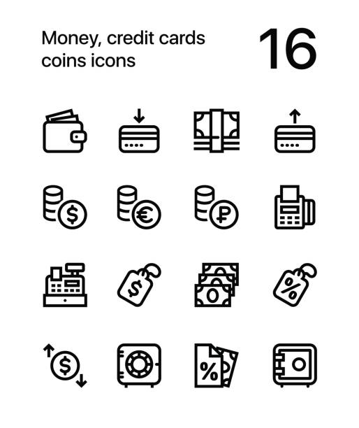 Money, credit cards, coins icons for web and mobile design pack 2 16 line black and white vector icons security equipment stock illustrations