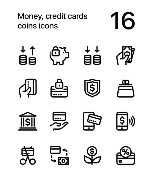 stockillustraties, clipart, cartoons en iconen met geld, creditcards, munten iconen voor web en mobiele design pack 3 - mobiele betaling