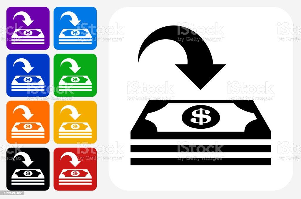 Money Deposit Icon Square Button Set Stock Illustration