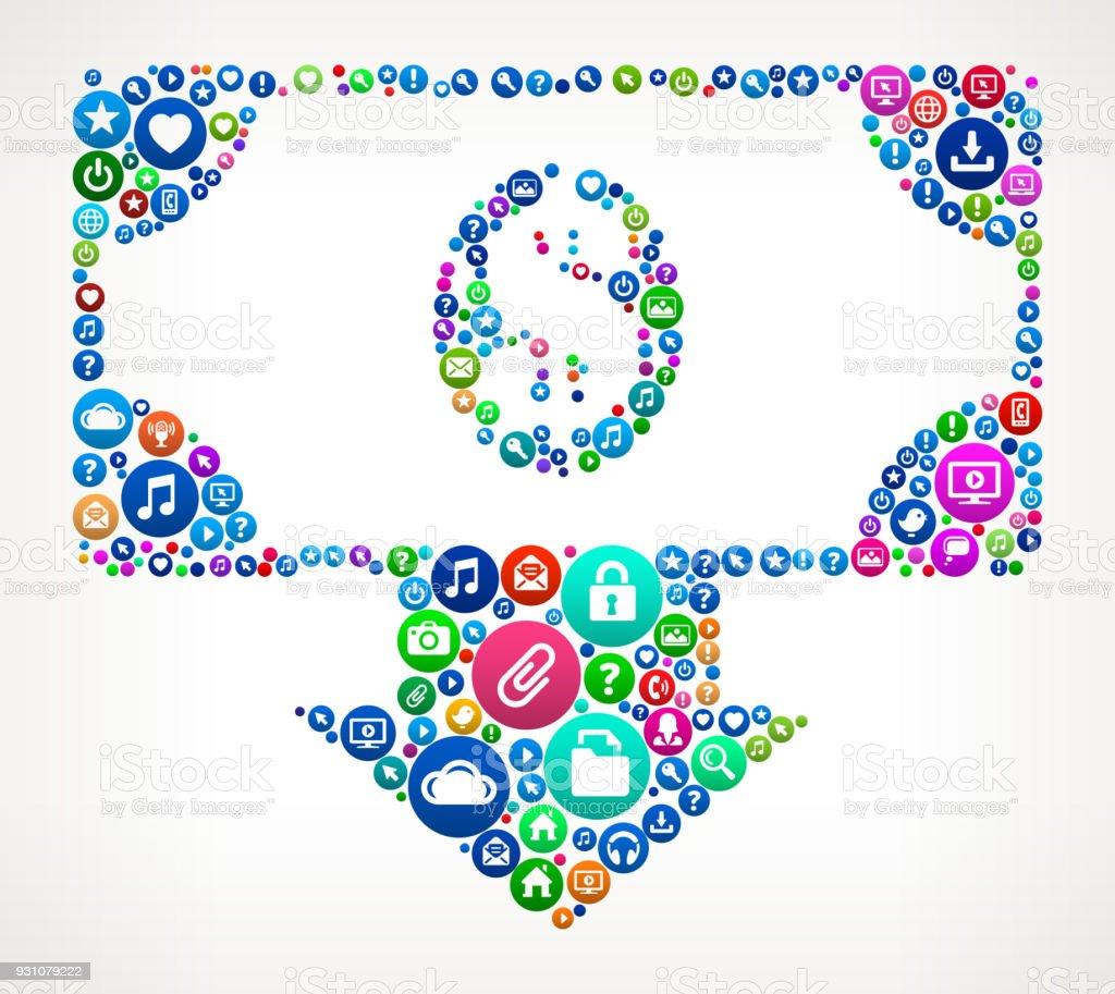 Money Deposit Internet Communication Technology Icon Pattern vector art illustration