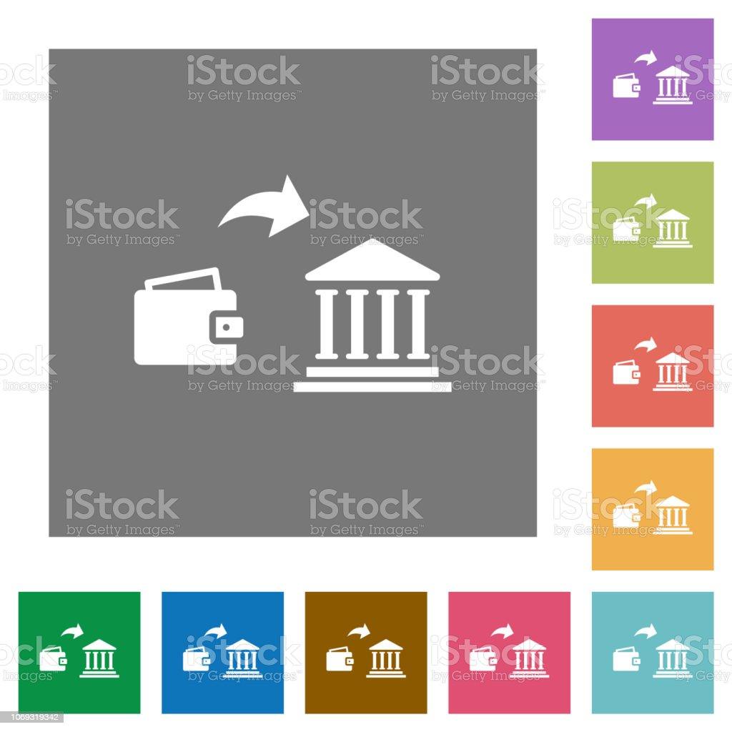 Money Deposit To Bank Square Flat Icons Stock Illustration
