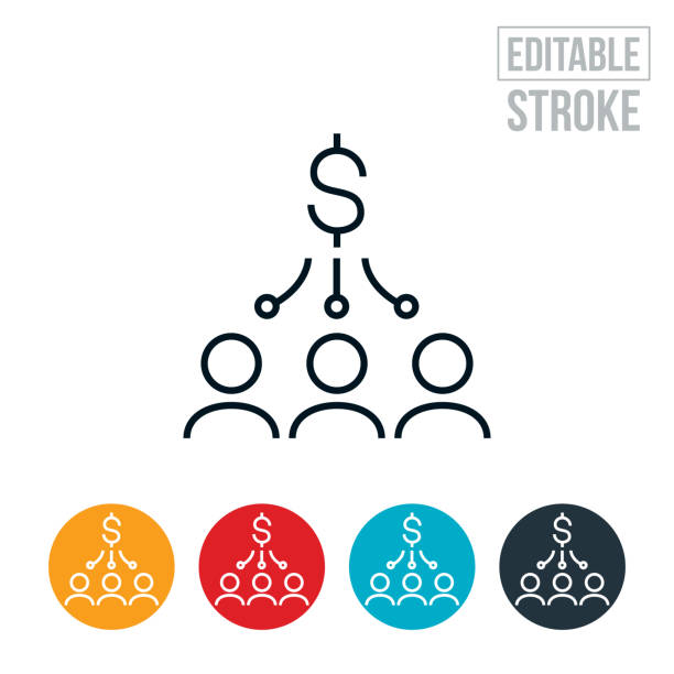 Money Distribution Thin Line Icon - Editable Stroke An icon of a group of people receiving a distribution of money. The icon includes editable strokes or outlines using the EPS vector file. stimulus check stock illustrations