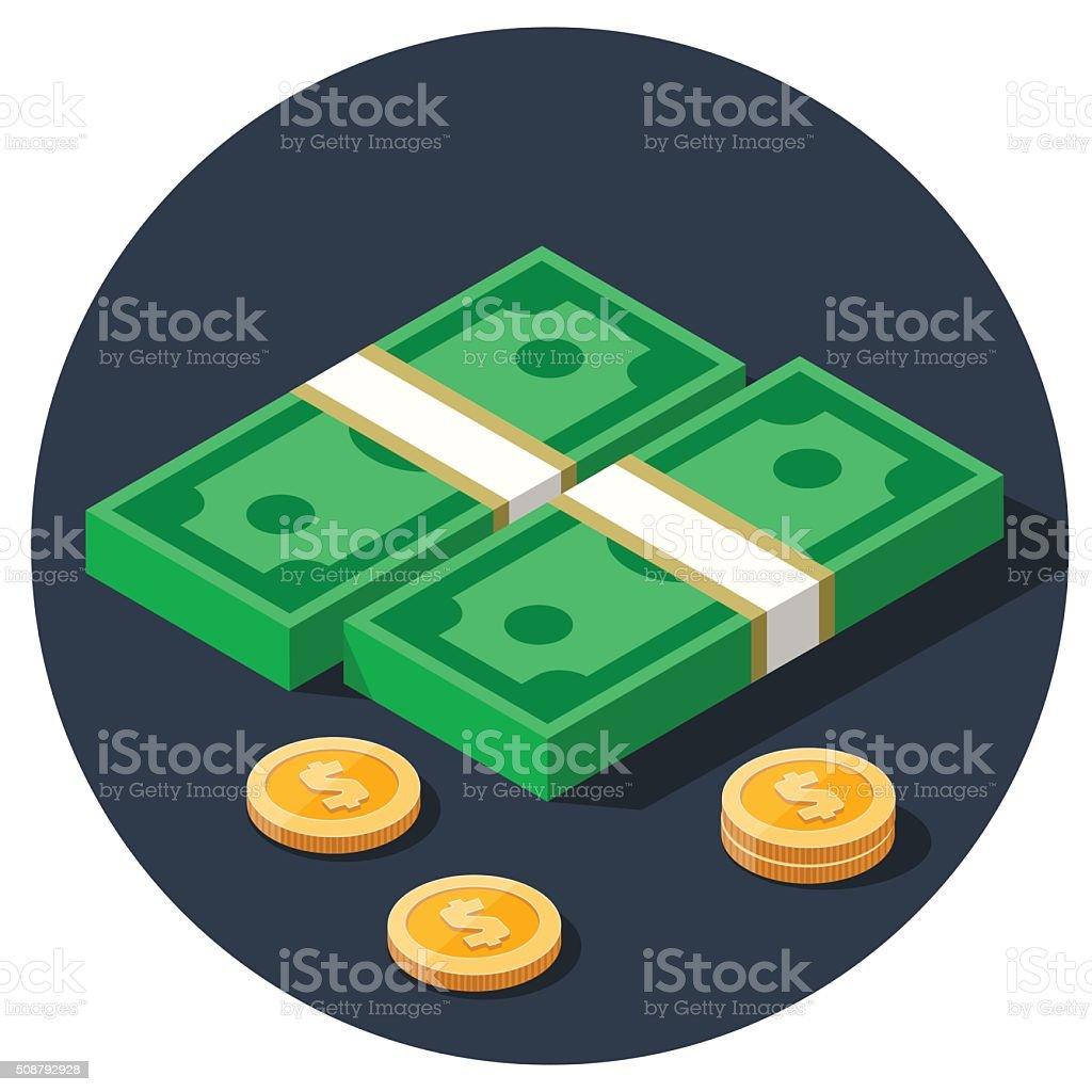 money dollar piles flat vector icon vector art illustration