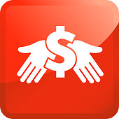 Money Dollar Sign in Hand Icon. This 100% royalty free vector illustration is featuring the main icon on a red square sticker background. The square sticker has rounded corners and a light glow effect.