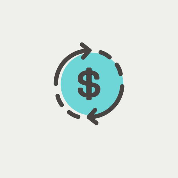 ilustrações de stock, clip art, desenhos animados e ícones de money dollar symbol with arrow thin line icon - circular economy