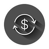 Money dollar with arrow icon in flat style. Exchange rate money illustration with long shadow. Financial strategy business concept.