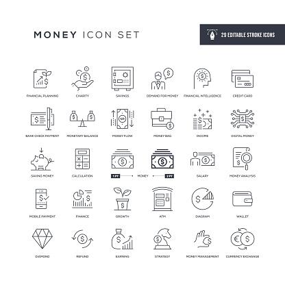 Money Editable Stroke Line Icons