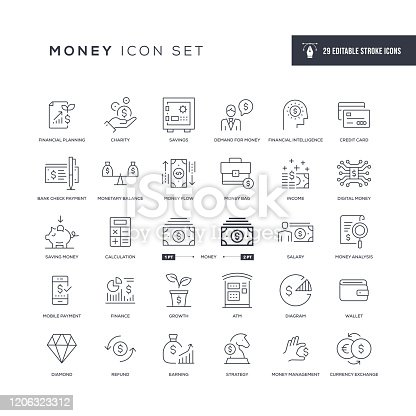 29 Money Icons - Editable Stroke - Easy to edit and customize - You can easily customize the stroke with