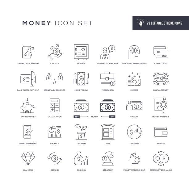 illustrazioni stock, clip art, cartoni animati e icone di tendenza di money editable stroke line icons - ricchezza