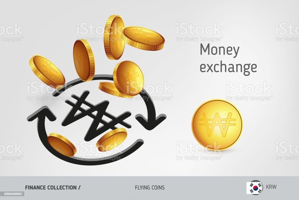 Money Exchange Icon With Flying South Korean Won Coins