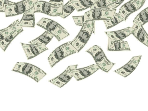 stockillustraties, clipart, cartoons en iconen met geld valt. business concept dollars bankbiljetten cash rain economische investeringsproducten rijkdom vector achtergrond - snavel