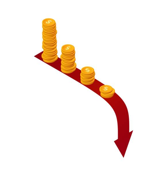 Money falls vector concept. Isometric stacks of coins on red arrow down. Financial crisis illustration Money falls vector concept. Isometric stacks of coins on red arrow down Financial crisis illustration infamous stock illustrations